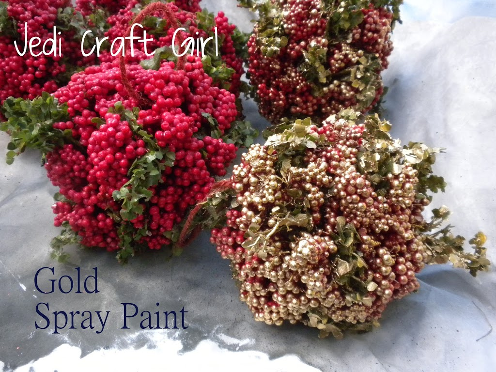 Gold spray paint my new favorite christmas decorating tip is gold spray paint i have all these red berry balls that i use on my main christmas tree mightylinksfo