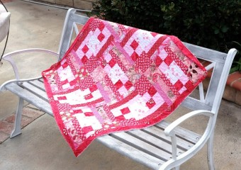 Red & Pink Love Baby Quilt