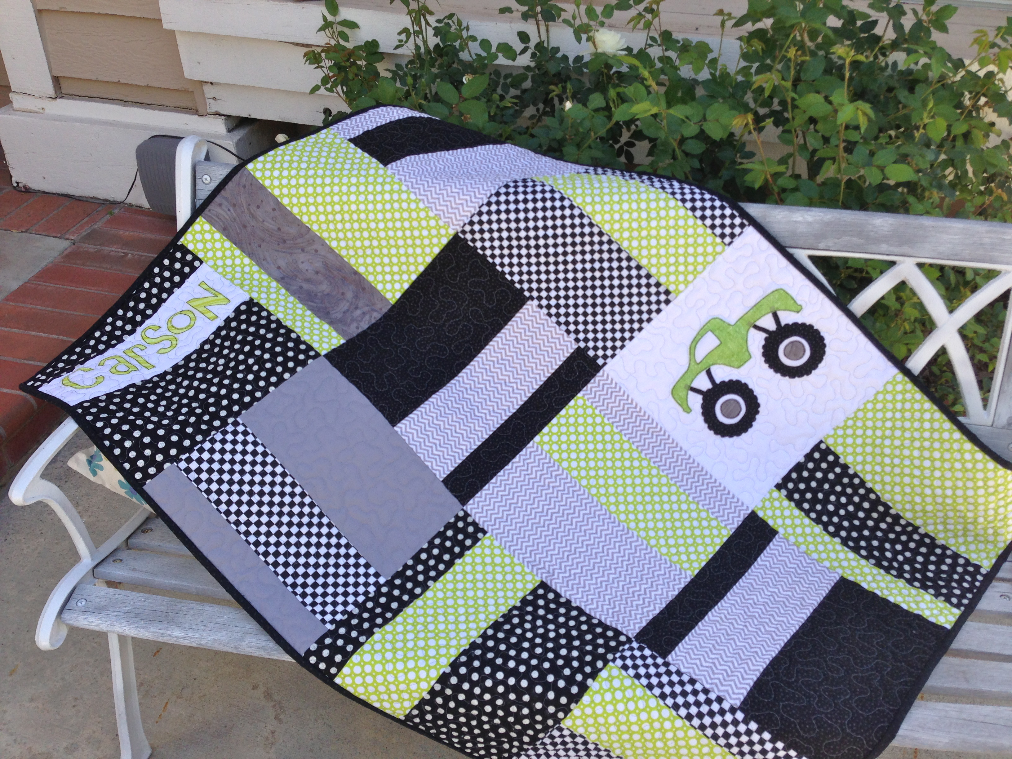 Quilt Patterns To Make In A Day : Monster Truck Baby Quilt