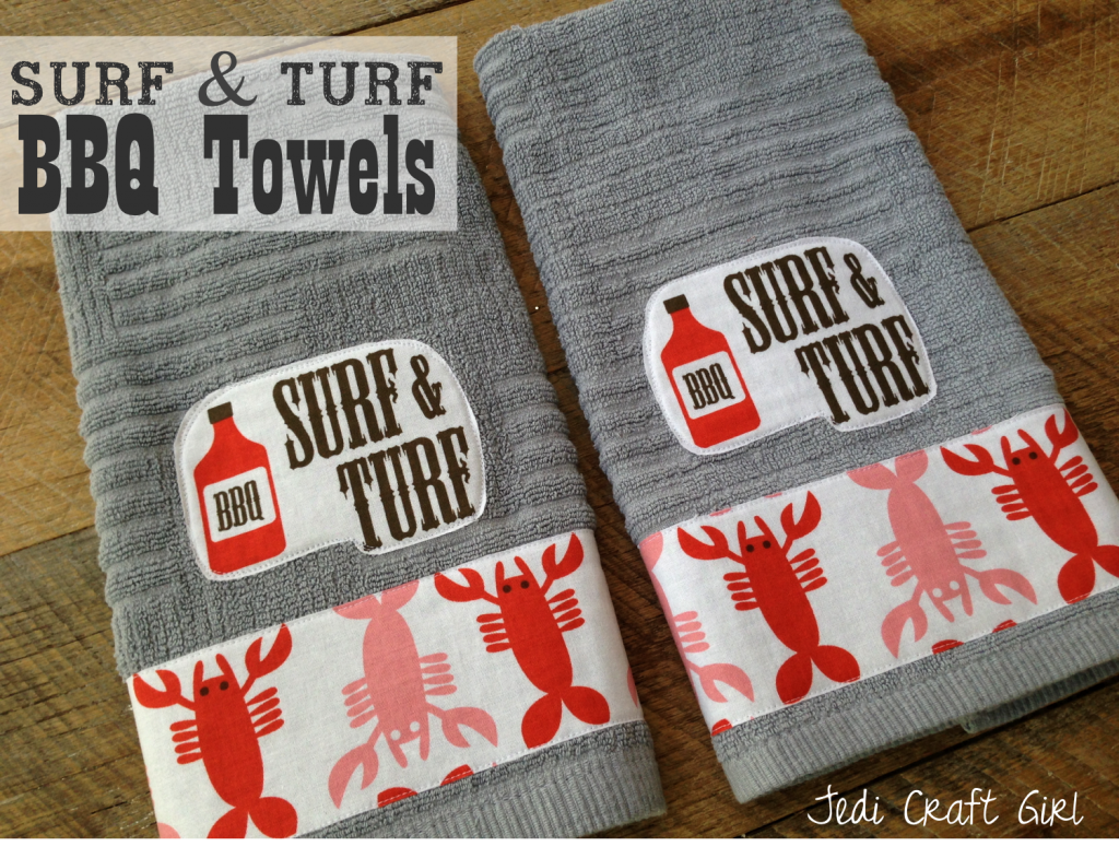 surf and turf bbq towels tutorial