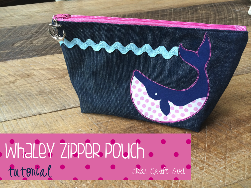 whale zipper pouch true blue blend fabrics
