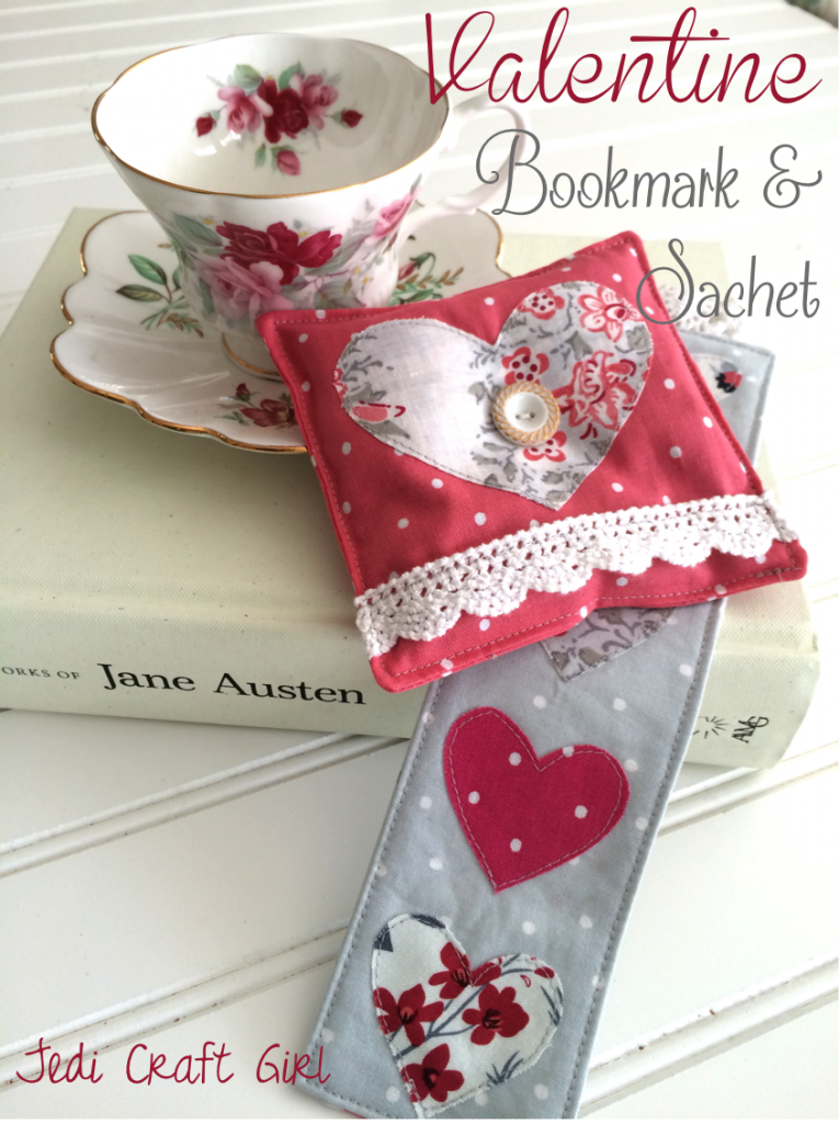 valentine bookmark and sachet