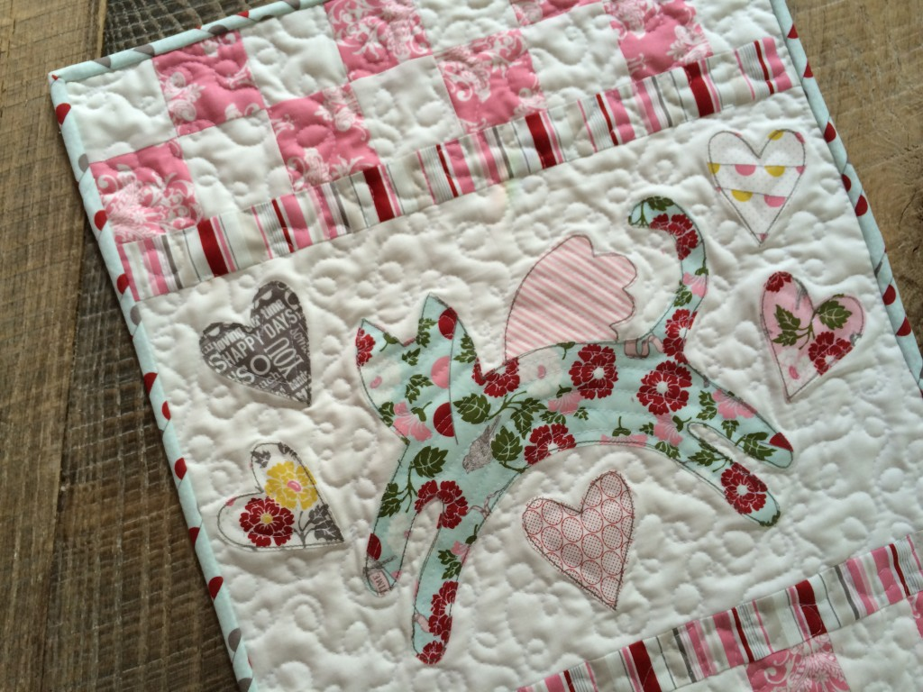 kitty love mini quilt 18