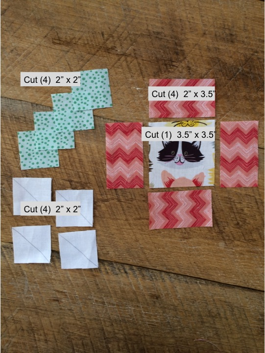 kitty in the corner quilt block diagram