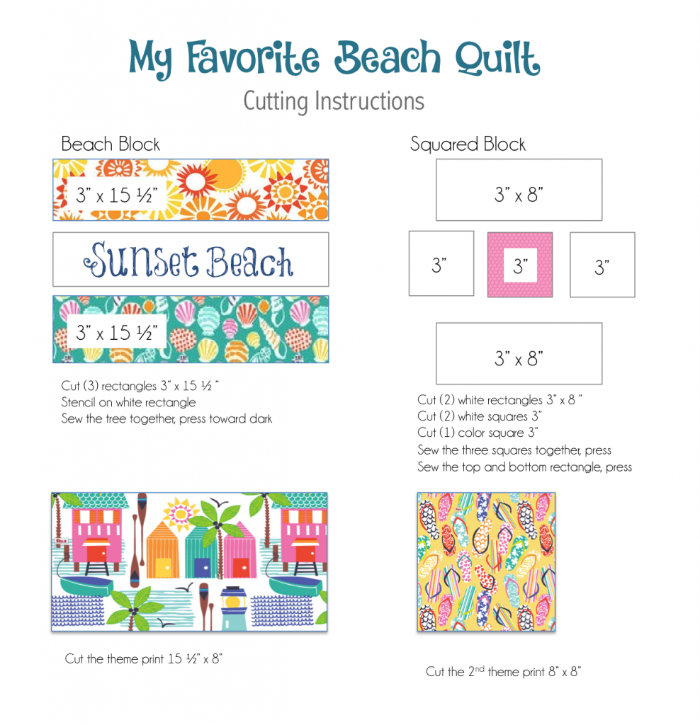 cutting instructions beach quilt