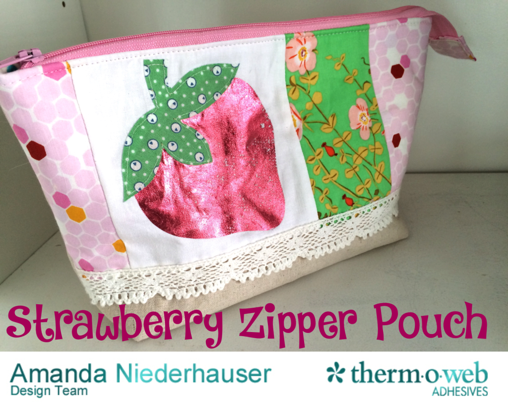 strawberry zipper pouch tutorial deco foil