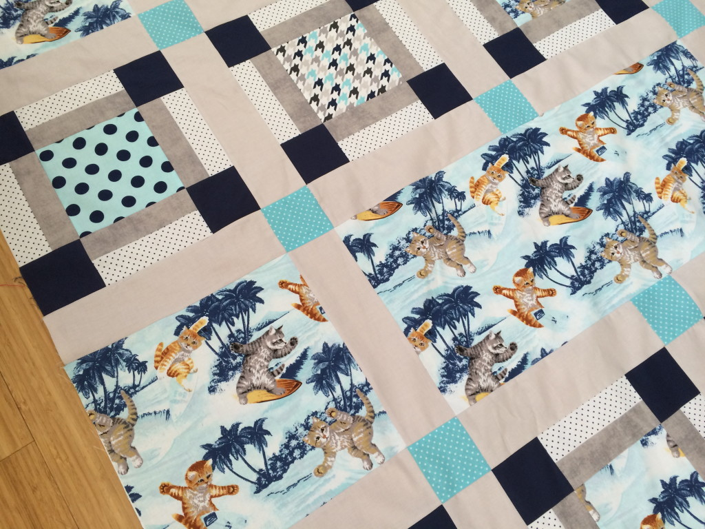 surfing cats quilt 15