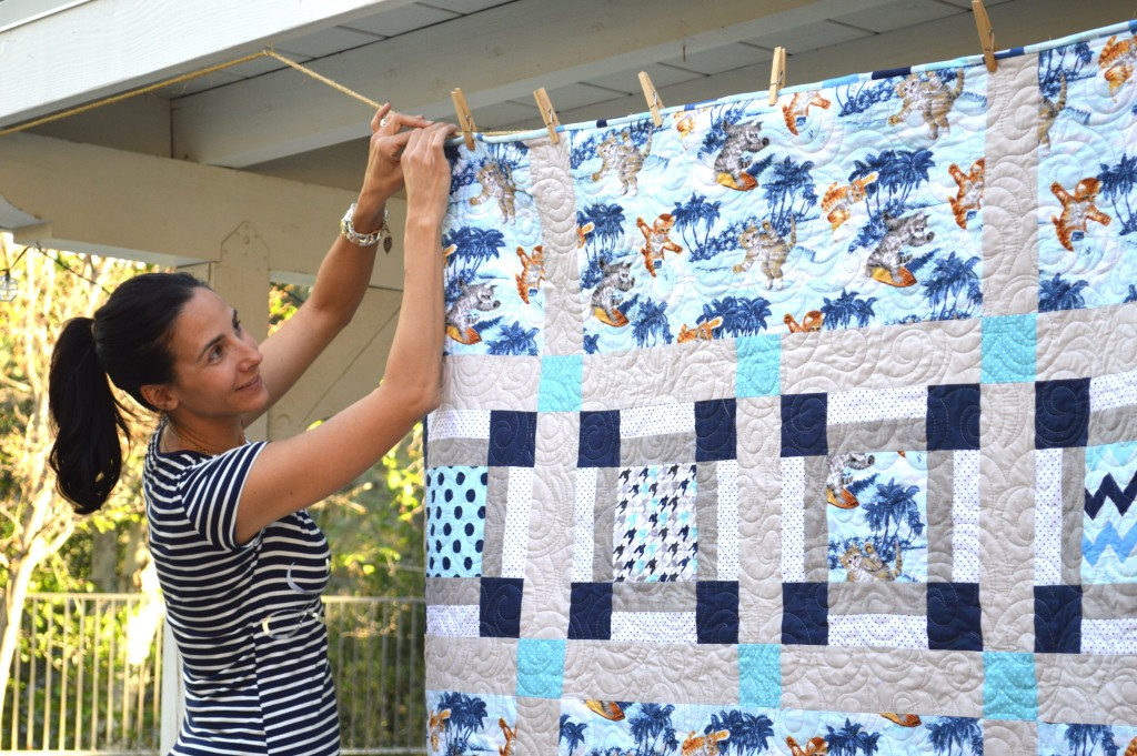 surfing cats quilt 2
