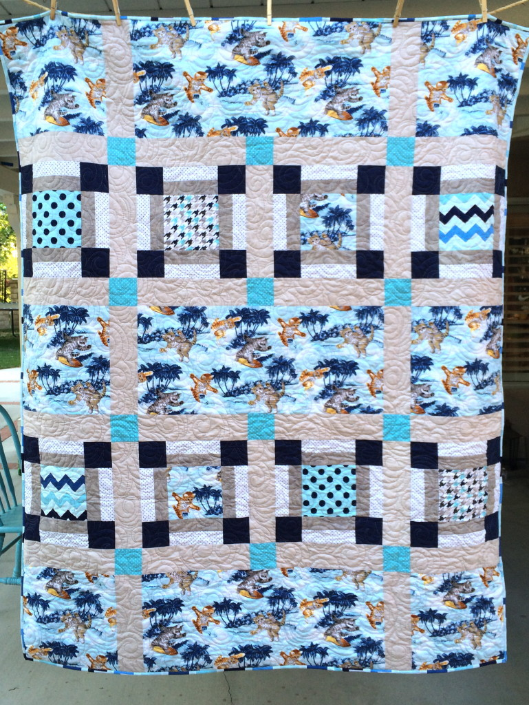 surfing cats quilt 22