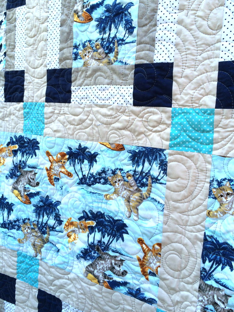 surfing cats quilt 23