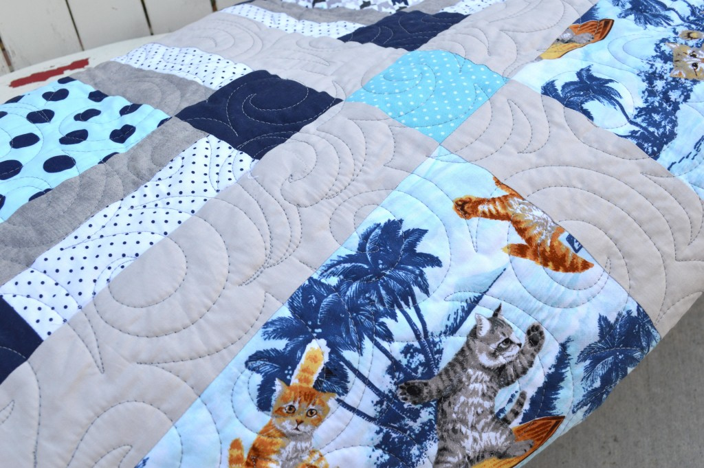 surfing cats quilt 4