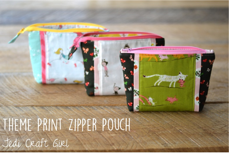 theme print zipper pouch tiger lily