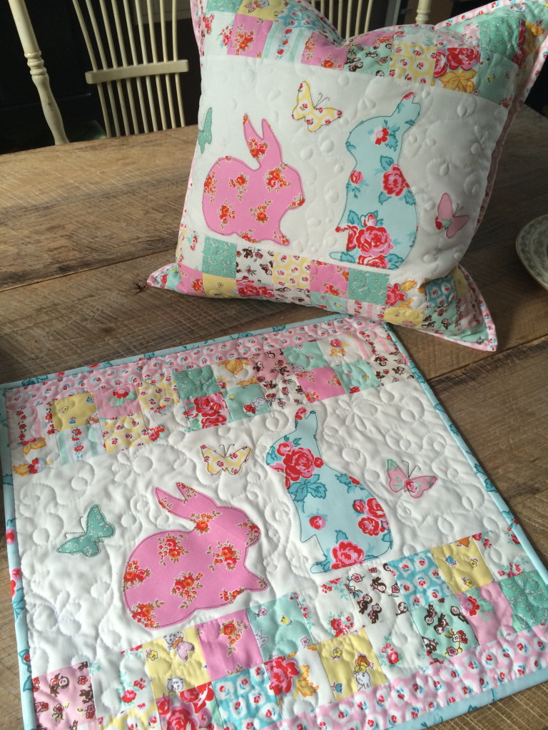 bunny applique pillow and quilt 11