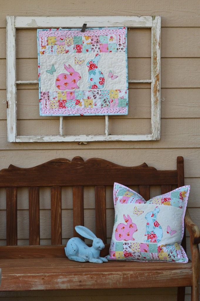 bunny applique pillow and quilt 2