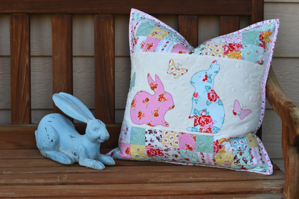 bunny applique pillow and quilt 4