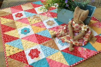 """""""Flower Patchy"""" a Half Square Triangle Mini Quilt Pattern"""