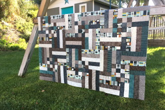Mid Century Modern Remix Quilt featuring Knock on Wood