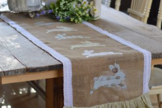 Spring Burlap Table Runner with Appliqué Bunnies