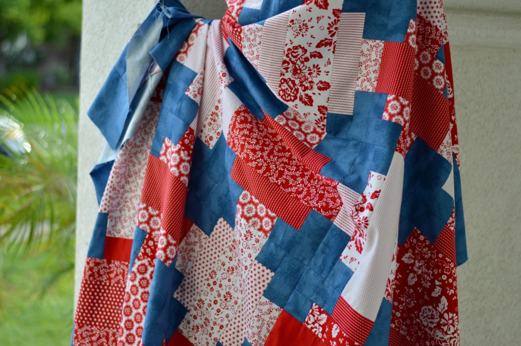 """""""Red, White & Denim"""" a Free Picnic Quilt Pattern designed by Amanda from Jedi Craft Girl"""