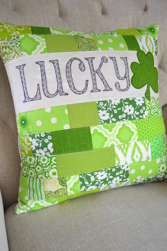 幸运枕|轻松圣帕特里克节装饰|缝纫项目|特色