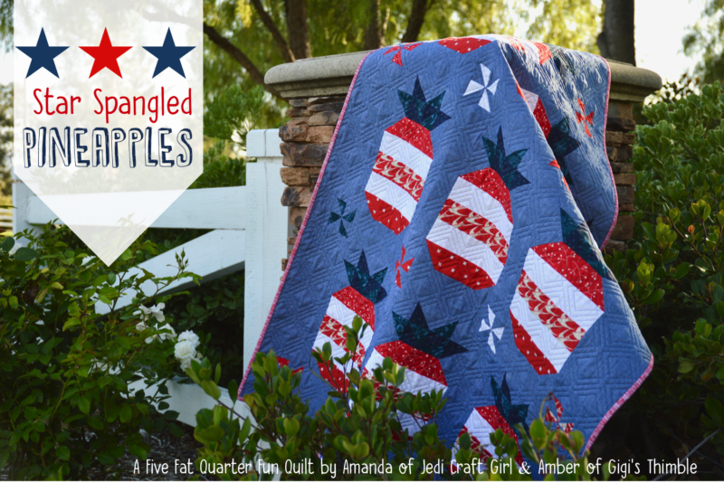 """""""Star Spangled Pineapple Quilt"""" Free Patriotic Quilt Pattern designed by Amanda from Jedi Craft Girl"""